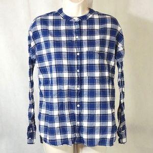 Old Navy Boyfriend Shirt Women Size S Blue Plaid